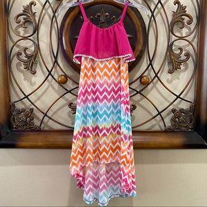 Beautees Chevron Print High Low Maxi Dress